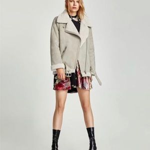 Zara Suede and Shearling Moto Jacket